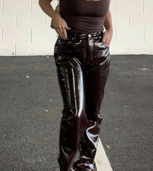 Asos rjave vintyl hlače