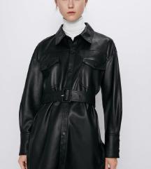 Zara črna usnjena jakna s pasom