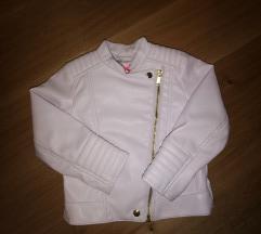 Nežno roza usnjena jakna 2-3 leta
