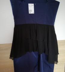 H&M nova temno modra peplum obleka