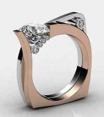 ZNIŽANO Dvojni unikatni prstan