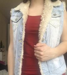 Topel jeans brezrokavnik
