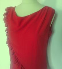 oranžna majica tanka,elegantna z volani,M