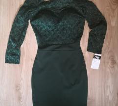 Čipkasta zelena obleka