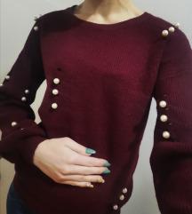 Bordo rdeč puloverček s perlicami
