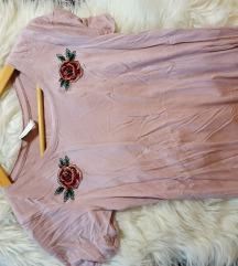 Roza majica s potiskom rož
