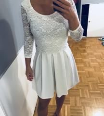 Nova bela cipkasta obleka