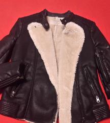 Zara semiš jakna z usnjenimi rokavi xs