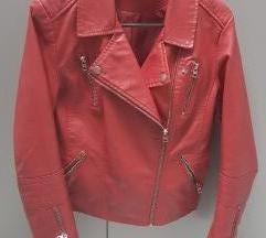 Only bordo rdeča usnjena jakna