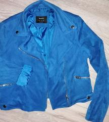 Bershka modra biker jakna