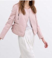 Zara roza usnjena jakna