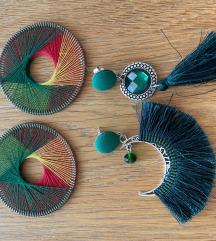 Temno zeleni uhani