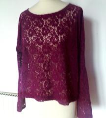 oversized  tanjši čipkast viola pulover S/M