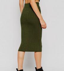 Primark zeleno ribbed knit midi krilo S/M