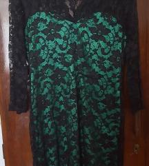 Črno zelena poletna obleka