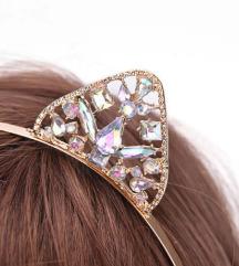 Zlat obroč za lase s kristali