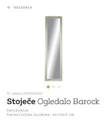 Ogledalo 45x170 cm s srebrno-zlatim okvirjem