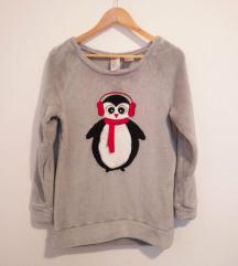 Siv zimski pulover s pingvinom