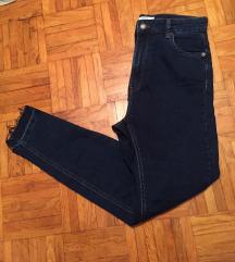 Bershka temno modre jeans hlače super high waist M