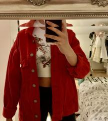Rdeča jeans jakna