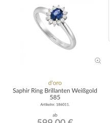 Belo zlato prstan z brilijanti