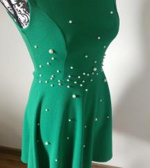 NOVA zelena obleka z biseri