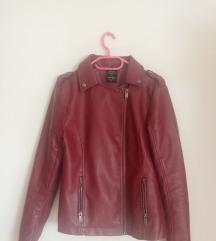 Usnjena rdeča jakna-nova