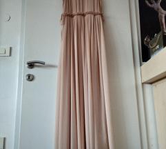 Nežno roza dolga obleka