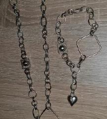 Srebrna zapestnica+verižica(PRAVO SREBRO)
