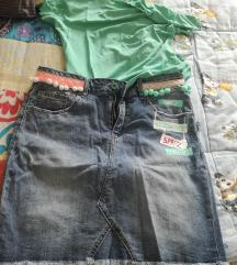 komlet jeans krilo in majica - novo