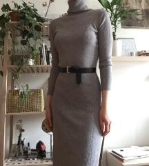 Siva midi puli obleka
