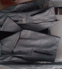 Pravo usnje srebrno siva jakna
