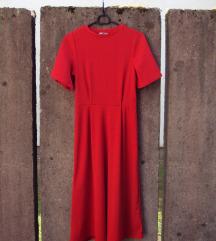 H&M Midi rdeča obleka