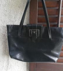 Velika crna usnjena torbica