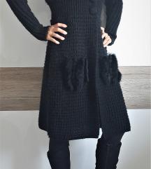 Čudovit pleten črni plašč, jopica, S