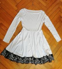 Bela obleka s črno čipko
