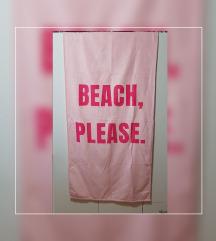 roza brisača za na plažo ( 144 x 72 cm )