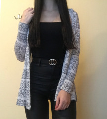 Bel cardigan s črnimi vzorci Xs