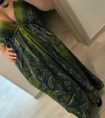 Dolga večerna obleka z orientalskimi vzorci
