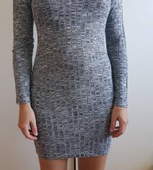 siva pletena obleka z dolgimi rokavi