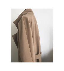 Ženski volnen oversized plašč camel barve