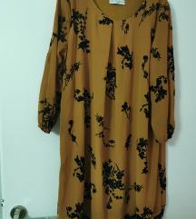 Obleka z plišatim cvetličnim vzorcem 38-408