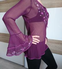 Prosojna vijola tunika z motivi rož, XS/S