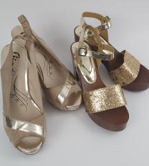 Dvoji zlati Bata čevlji z visoko peto