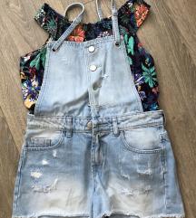 Kratke hlače z naramnicami in top