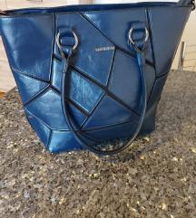 usnjena modra zenska torbica