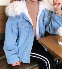 Podložena jeans jakna z umetnim krznom XS-S