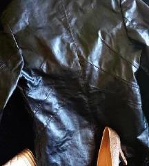 Pravo usnje jakna, črna