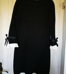 Črna pletena obleka - uni vel.
