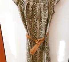 Obleka L kratki rokavi kačji vzorec usnjen pas